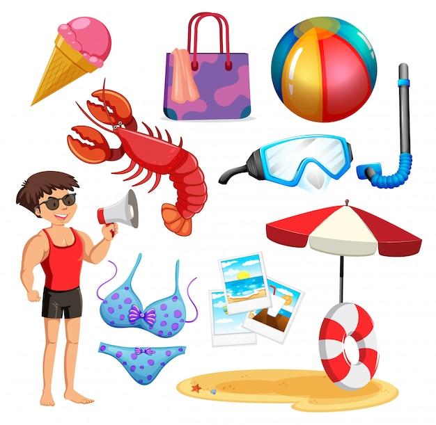 Zestaw na białym tle obiektów tematu wakacje