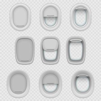 Zestaw na białym tle okna samolotu lub samolotu z realistycznymi odcieniami otwartego i zamkniętego półotwartego iluminatora