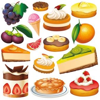 Zestaw na białym tle owoców i deserów