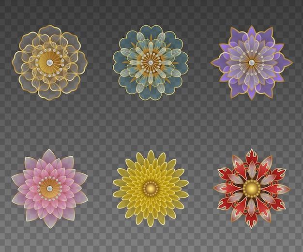 Zestaw na białym tle ozdobnych kwiatów geometrycznych