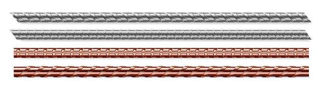 Zestaw na białym tle pręty metalowe, pręty stalowe i miedziane