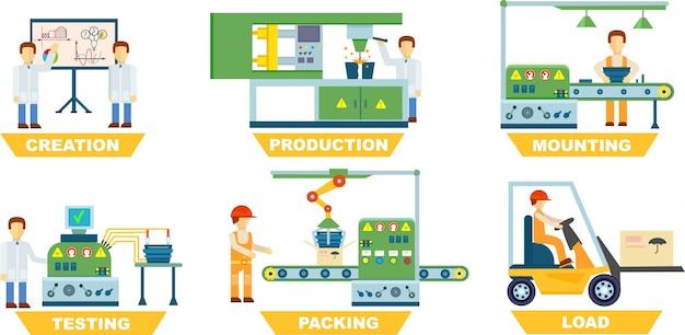 Zestaw na białym tle produkcji przemysłowej