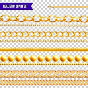 Zestaw na białym tle realistyczny łańcuch przezroczysty kolorowy ze złotą biżuterią różne wzory i różne kształty ilustracji
