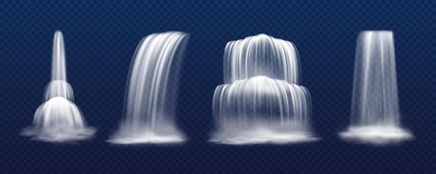Zestaw na białym tle realistyczny wektor kaskadowy wodospad na przezroczystym tle. wodospad górski, strumień parkowy lub kropla cieczy. victoria i niagara. sceneria i krajobraz, motyw przyrody