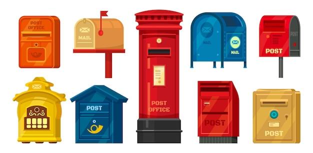 Zestaw na białym tle retro skrzynki pocztowej lub ilustracji rocznika skrzynki pocztowej