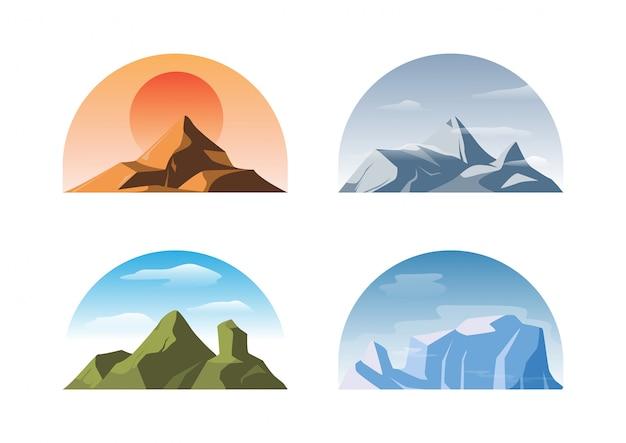 Zestaw na białym tle różnych gór