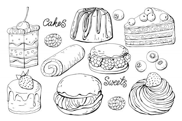Zestaw na białym tle słodyczy i ciast