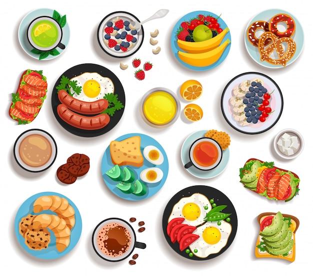 Zestaw na białym tle śniadanie