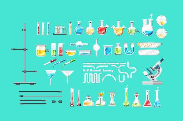 Zestaw na białym tle sprzęt laboratorium chemiczne
