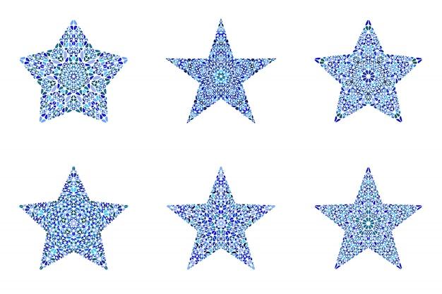 Zestaw na białym tle streszczenie kształt gwiazdy