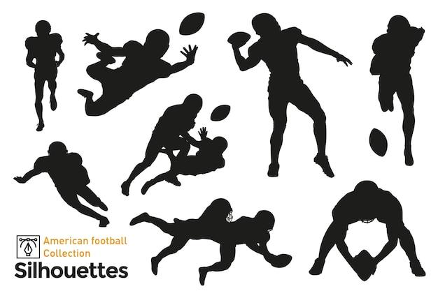 Zestaw na białym tle sylwetki zawodników futbolu amerykańskiego w różnych pozach.