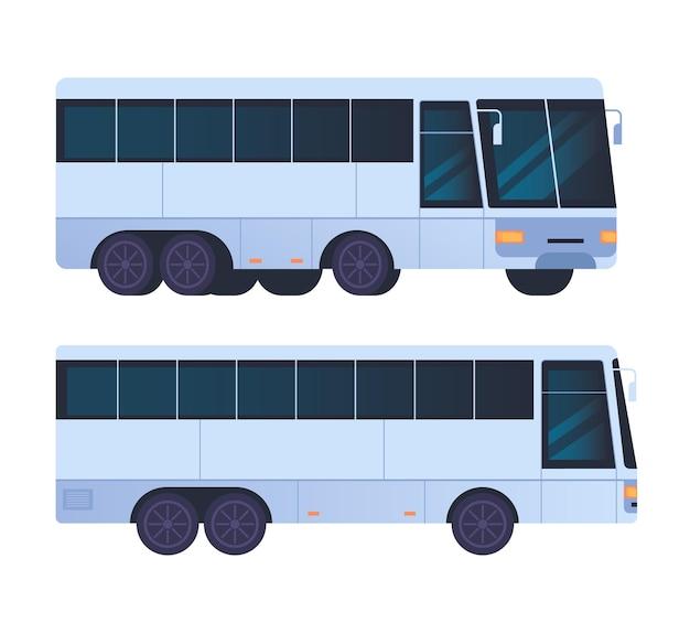 Zestaw na białym tle transportu autobusowego
