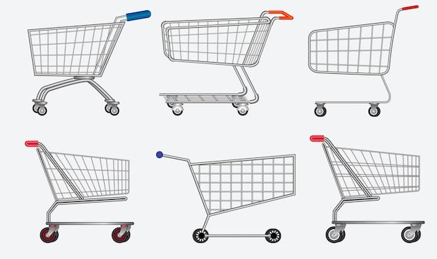Zestaw na białym tle wózek na zakupy metalowy wektor eps