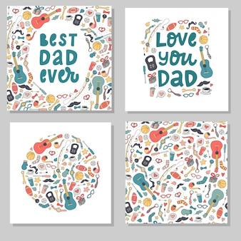 Zestaw na dzień ojca stworzony z doodli