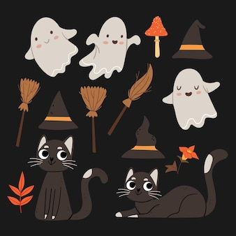 Zestaw na halloween śliczne duchy czarne koty czarownice kapelusze i miotły jesienny nastrój nocne niebo