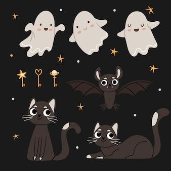 Zestaw na halloween śliczne duchy czarne koty nietoperze magiczne klawisze jesienny nastrój nocne niebo