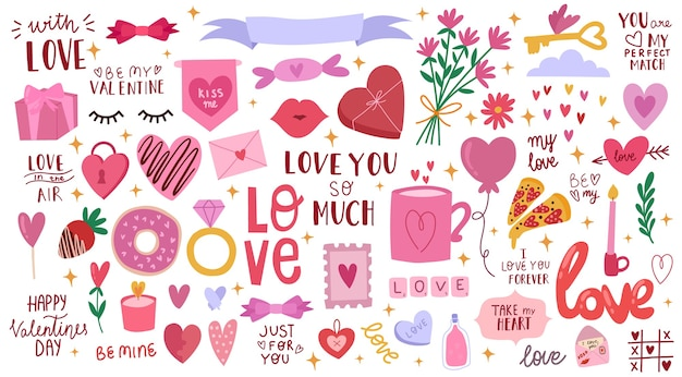 Zestaw na walentynki słodkie ilustracja miłość napis wszystkie elementy są izolowane ręcznie rysowane