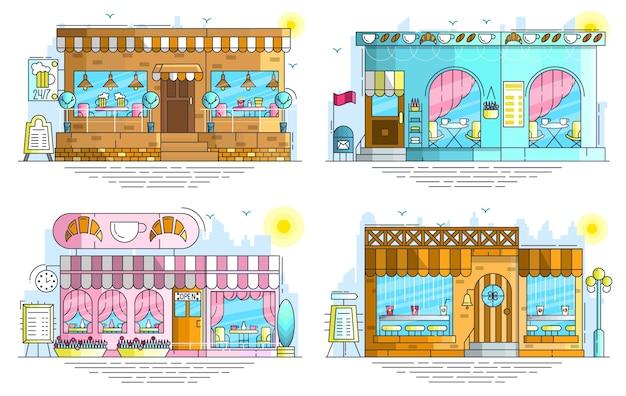 Zestaw na zewnątrz małych uroczych budynków kawiarni na ulicy