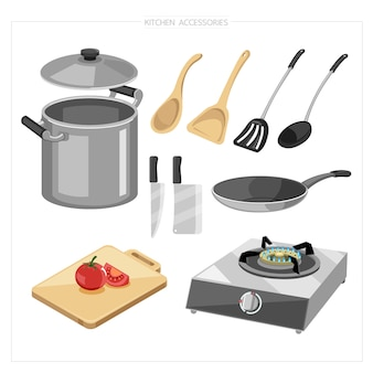 Zestaw naczyń do gotowania, takich jak garnek, rondel, deska do krojenia, deska do krojenia, nóż, kuchenka gazowa
