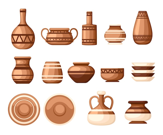 Zestaw naczyń glinianych z wzorami. naczynia kuchenne - talerze, dzbanki, garnki. brązowa glina. ilustracja