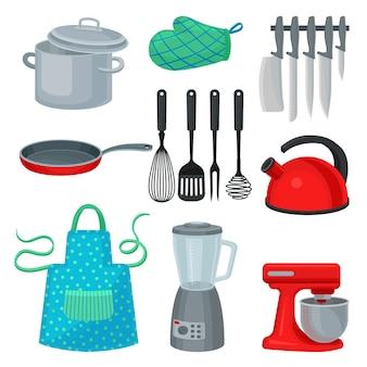 Zestaw naczyń kuchennych, nowoczesne urządzenie elektryczne i odzież ochronną. przybory kuchenne. motyw kuchenny