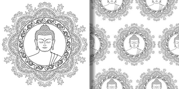 Zestaw nadruków i bez szwu wzorów buddy z mandalą nowoczesna tapeta do nadruków na koszulkach tekstylnych