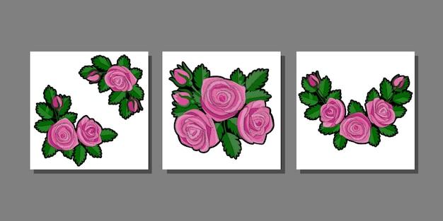 Zestaw nadruków z różową różą do nadruków na tekstyliach i koszulkach na naszywki