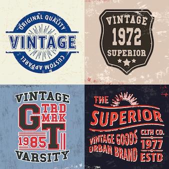 Zestaw nadruku w stylu vintage na znaczek na koszulkę, aplikację na koszulkę, typografię modową, odznakę, odzież etykietową, dżinsy i odzież codzienną. ilustracji wektorowych