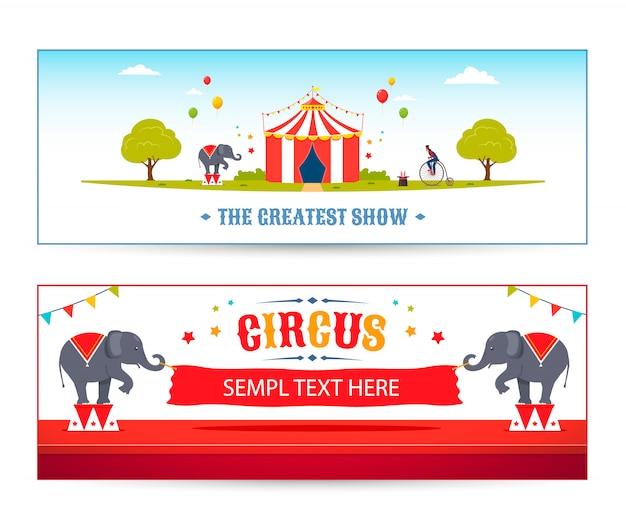 Zestaw nagłówków cartoon circus. ilustracja wektorowa parku cyrkowego. cyrkowe słonie