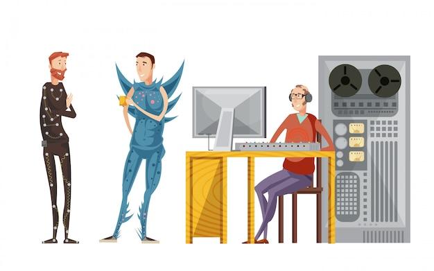 Zestaw nagrań dźwiękowych filmu z inżynierem ze sprzętem audio i aktorami w kostiumach na białym tle ilustracji wektorowych