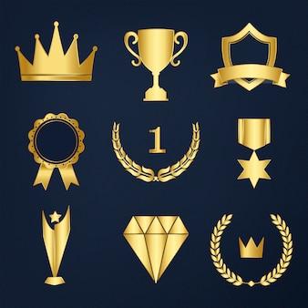 Zestaw nagród i odznaki wektor