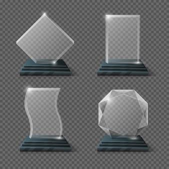 Zestaw nagród puste szklane trofeum
