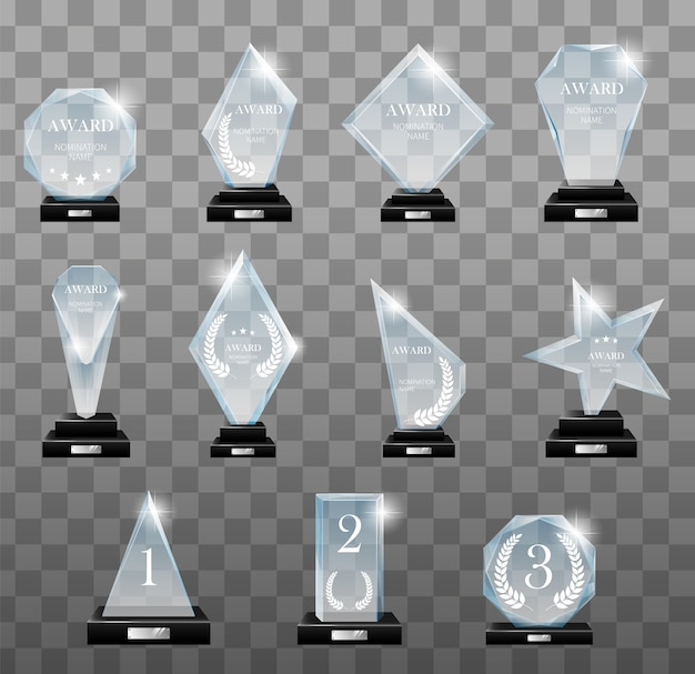 Zestaw nagród szklanych trofeów