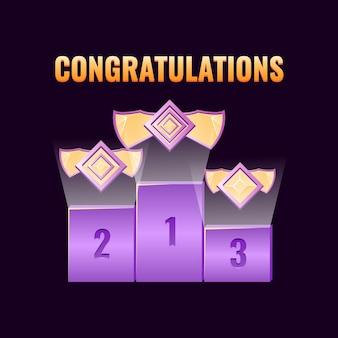 Zestaw nagród w tabeli rankingowej gry fantasy z sześciokątnymi medalami rangi