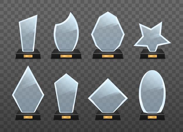 Zestaw nagrody trofeum szklane na przezroczystym tle