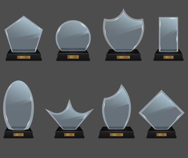 Zestaw nagrody trofeum szklane