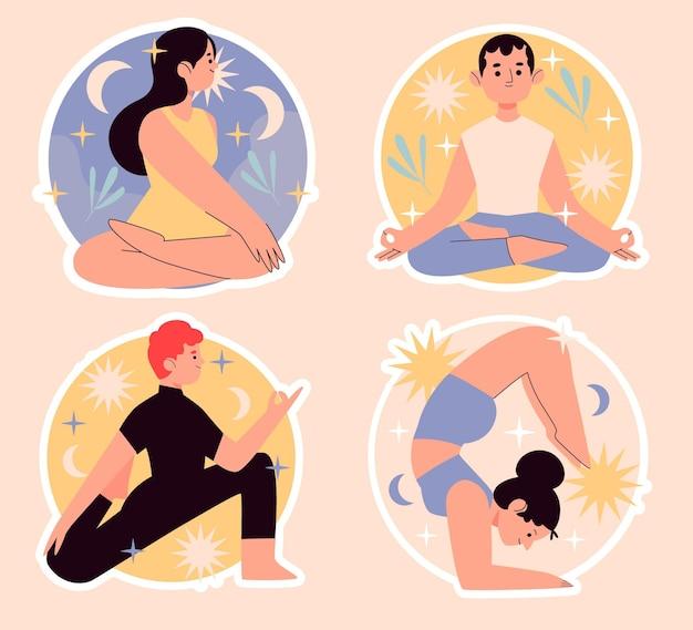 Zestaw naiwnych naklejek jogi