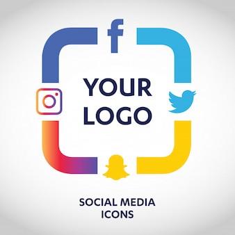 Zestaw najbardziej popularnych ikon social media, twitter, youtube, whatsapp, snapchat, facebook, instagram, logo wydrukowane na papierze