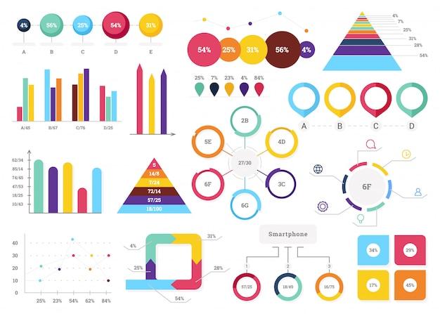 Zestaw najbardziej przydatnych elementów infografiki - wykresy słupkowe, wykresy kołowe, kroki i opcje