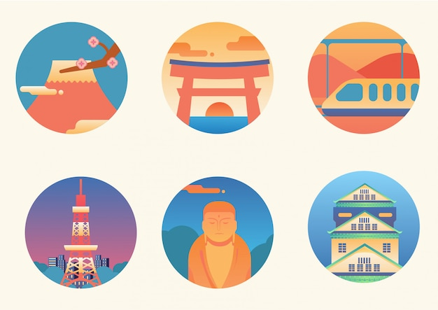 Zestaw najbardziej zapadających w pamięć ikon japonii