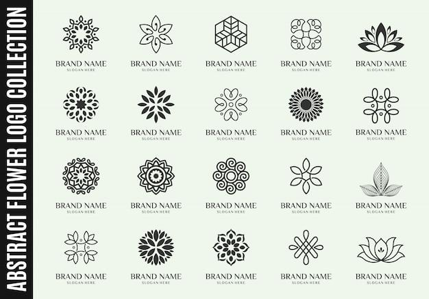 Zestaw najlepszych kolekcji logo streszczenie kwiat