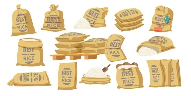 Zestaw najlepszych worków kreskówka ryżu z typografią. torby tekstylne z produkcją rolniczą w brązowych belach, workach zamkniętych i otwartych