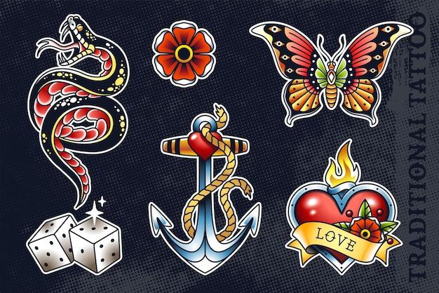 Zestaw najpopularniejszej starej szkoły: wąż, kwiat, motyl, kostka do gry, kotwica i serce z płomieniem.