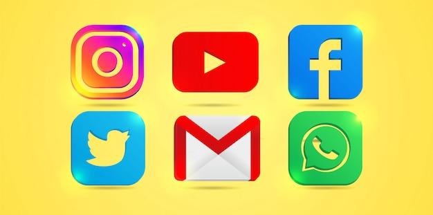 Zestaw najpopularniejszych ikon mediów społecznościowych: instagram, youtube, facebook. twitter, e-mail i whatsapp.
