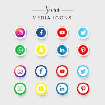 Zestaw najpopularniejszych ikon mediów społecznościowych
