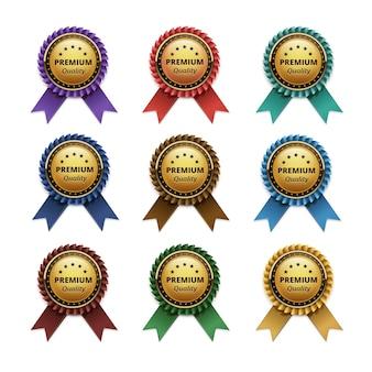 Zestaw najwyższej jakości złotych etykiet z wstążkami