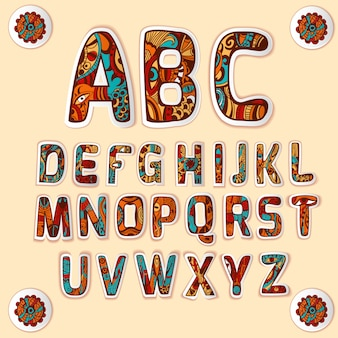 Zestaw naklejek alfabetu kolorowe litery zentangle