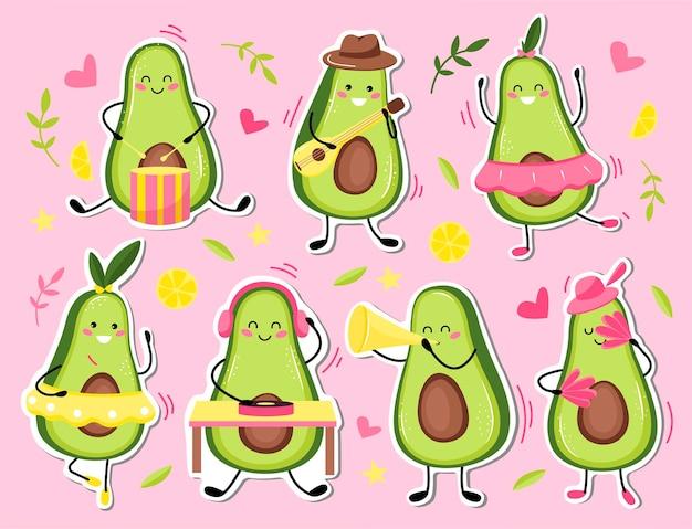 Zestaw naklejek awokado. śliczne owoce kawaii. płaski styl kreskówki.