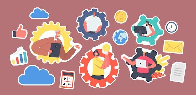 Zestaw naklejek biznesowych znaków zdalnego zespołu pracy. konferencja grupowa z kamerą internetową ze współpracownikami za pośrednictwem komputera lub urządzenia cyfrowego. pracownicy rozmawiają online, omawiają pomysł. ilustracja wektorowa kreskówka ludzie
