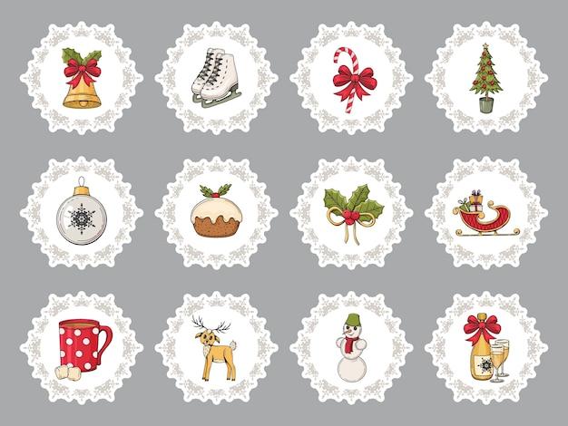 Zestaw naklejek bożonarodzeniowych kolorowe ręcznie rysowane. tradycyjne elementy zimowe.